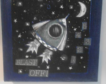 Space rocket canvas
