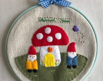 Whimsical Forest Gnomes  Embroidery Hoop Wall Art, Felt Linen Wall Art, Nursery Decor, Home, Housewarming Gift