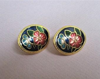 Blue Cloisonne Post Earrings for Pierced Ears Vintage Blue Burgundy and Gold Enamel Cloisonne Flowers Pierced Fashion Earrings Stud Earrings