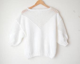 white oversized fisherman knit sweater 80s // M