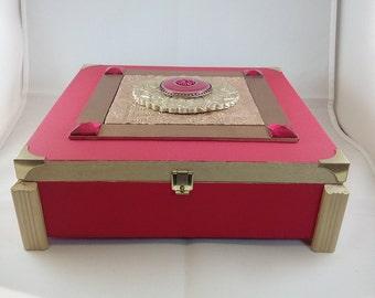 Red and gold trinket box, mixed media, wooden jewellery box, polymer clay mosaic keepsake box