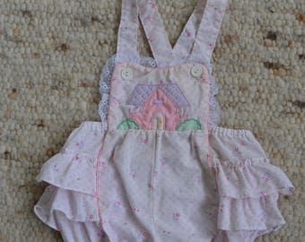 Vintage Mini Togs Baby Romper, ruffles, floral, baby girl