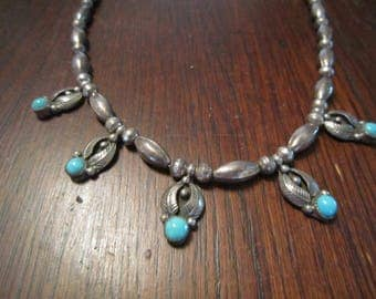 L Bennett, Navajo, Sterling and Turquoise Necklace