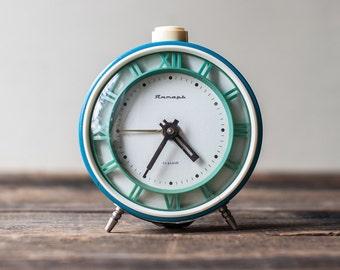 Soviet Vintage Alarm Clock - Working Alarm Clock Jantar, Blue Clock, USSR Clock, Retro Clock