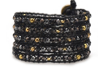 Leather Beaded Wrap Bracelet, Wrap Bracelet, Black Wrap Braclet, Leather Wrap Bracelet, Women's Leather Bracelet, Gold Wrap Bracelet