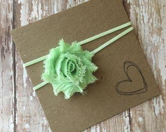 Mint Green MINI Shabby Flower Headband