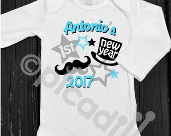Baby boy my first new years personalized onesie new year top my first new years personalized baby boy onesie with top hat and mustache for babys first negle Gallery