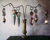 Earring holder display, handmade jewelry display, upcycled vintage display, assemblage display, #8, metal column, earring stand, AnvilsAttic