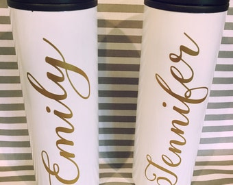 Travel mug Personalized stainless steel travel mugs, gifts for teachers, bridal parties