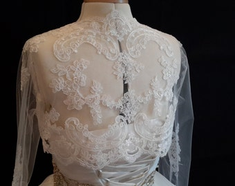 ivory bridal wedding lace Bolero / ivory bridal lace coat / ivory bridal lace shrug  ivory wedding lace cover up M size is for sale