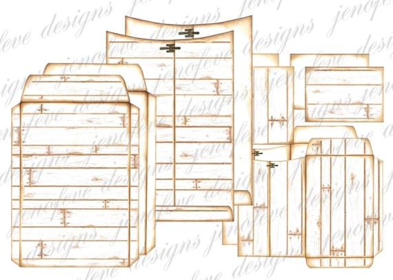 6x9 Printable Envelope Album Wood Plank & Plain Templates