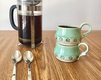 Porcelain Tea Cup Pottery. Mix and Match Cups. Small Pottery Coffee Mug. Ceramics and Pottery Mug. Pottery Hand Made Mug. Hand Thrown Coffee