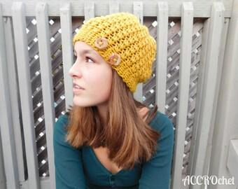 Mustard - Crochet Hat Pattern - Beanie Crochet Pattern - Easy Crochet Hat Pattern - Quick Crochet Hat Pattern - Unisex Crochet Hat Pattern