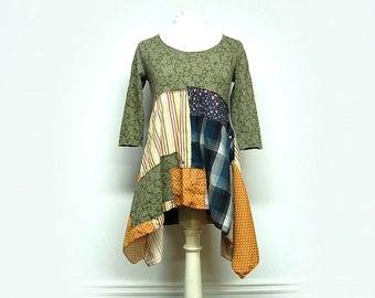 M/L Boho Chic Patchork Tunic, Funky Artsy Handmade, Eco Friendly Upcycled Women's Clothing by Primitive Fringe