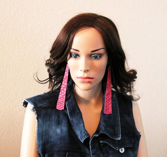 Long strip leather earrings - Lightweight earrings - Dangle Earrings -  Pink brick texture earrings - boho earrings