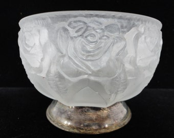 Vintage Frosted Glass Bowl