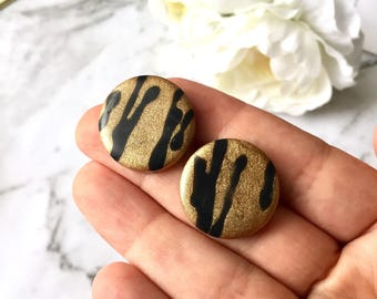 Black and Gold Sparkly Party Large Resin Post Earrings. Nickel Free. Made by Hand in Australia. For Sensitive Ears
