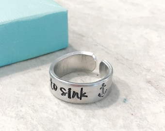 Sale personalized ring refuse to sink anchor stamp custom hand stamped ring engraved ring monogrammed jewelry best friends encouragement
