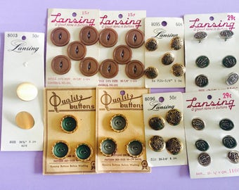 Vintage Buttons, Lansing Buttons, Quality Buttons, Gold Buttons, Silver Buttons, Vintage Sewing Supplies, Button Lot, Buttons on Card, Retro