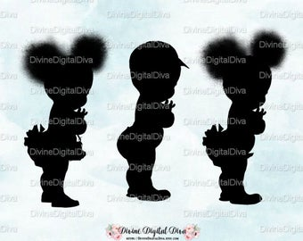 Silhouettes Girl Natural Hair Pony Tails Afro Puffs & Baby Boy in Cap | African American | Clipart Instant Download