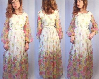 Vintage 1960's Sheer Sleeved Floral Princess Gown