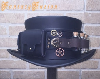 Steampunk Hat Futurist Traveller Gears Leather Top Hat with Pockets and Glass Vials Band