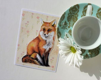 CARD Orange Fox on Flower wallpaper - Artist Marker by Brandy Balazs