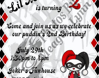 Harley Quinn Birthday Invitation *Digital*