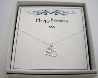 Sterling Silver Heart & Coloured Crystal Charm Necklace - birthday gift