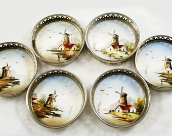Antique  Dutch set of six coasters decorated with windmills