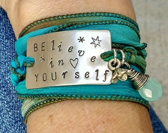 Believe In Yourself Bracelet, Boho Bracelet Wrap, Be You Bracelet,Silk Wrap Bracelet, Boho Chic Silk Wrap