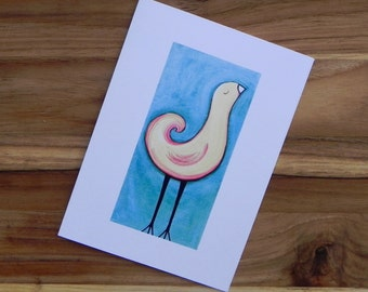 Yellow bird on blue, Eight blank notecards and envelopes