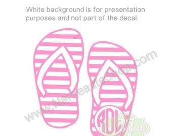 Monogram Decal, Flip-flop Decal, Sandals Decal, Beach Decal, Summer Decal, Car Decal, Laptop Decal