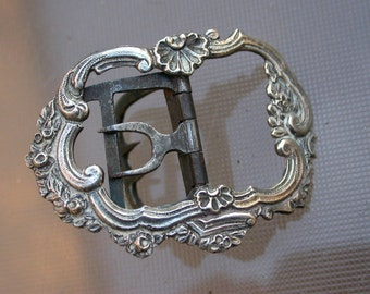 French antique 19th century Solid sterling Silver Hand Crafted Belt Buckle Signed M R initial antique jewelry flower decoration ornate