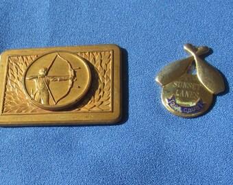 Vintage Archery Bowling Metal Emblems