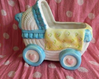Vintage Pram Ceramic Nursery Planter