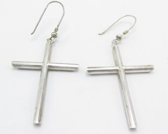 Vintage Silver Cross Dangle Earrings