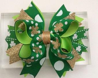 St. Patrick's Day Shamrock Girl Hair Bow !!!