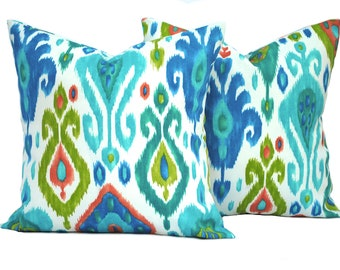 "Two ikat  indoor/outdoor pillow covers, 12"", 14"", 16"" 18"" 20"", throw pillow, decorative pillow, Outdoor Pillow, Blue Pillow, Green pillow"