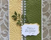 Handmade Greeting Card, Happy Birthday,yellow and green, daisies