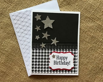 Handmade Birthday Card, Masculine birthday, teen birthday, black and white, silver stars