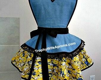 Apron number 4019 - Minions with denim retro kitchen apron