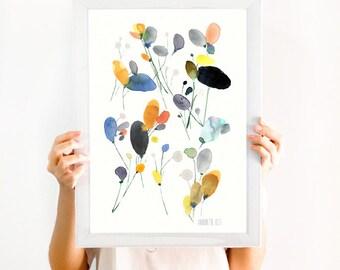 Flower art work. Floral meadow wall art. Modern poppies flower archival print. Botanical poster. Flower art print from watercolor painting.