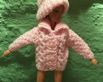 Sindy / Barbie 1 x hand knitted aran-type cardigans with hat - various colours made to order