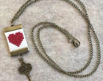 Valentine's Day Necklace - cross stitch heart with key charm