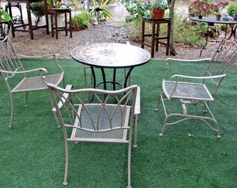 Art Deco Five piece Solid Iron Patio Set tiled Table top One Arm Chair rocker High Quality Hand Welded Insured Nationwide shipping available