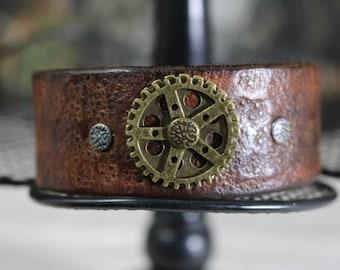 leather steam punk gear bracelet