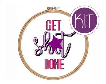 Easy Cross Stitch KIT, Easy Beginners Cross Stitch KIT by Peppermint Purple