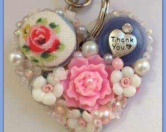 Beautiful Ivory Pink Thank You Button Art Cath Kidston Floral Fabric Button KeyRing Bag Charm Gift For Teacher End of Term
