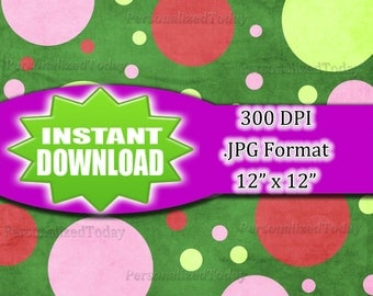 Big & Small Polka Dots Green Digital Scrapbook File - 300 DPI - JPG File Format - 12x12 - High Resolution - INSTANT Digital Download - 0073